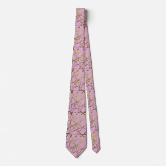 Modern,abstract,hand painted, gold lines, pink,dec tie