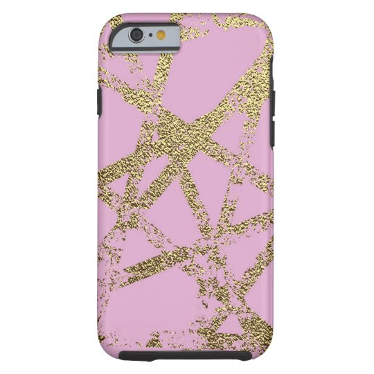 Modern,abstract,hand painted, gold lines, pink,dec tough iPhone 6 case