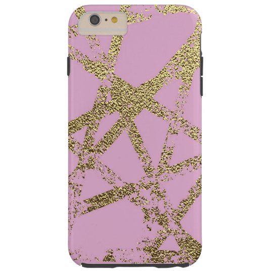 Modern,abstract,hand painted, gold lines, pink,dec tough iPhone 6 plus case