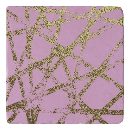 Modern,abstract,hand painted, gold lines, pink,dec trivet