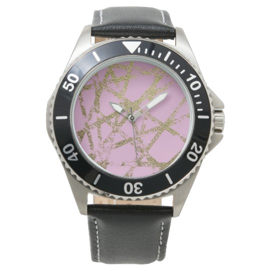 Modern,abstract,hand painted, gold lines, pink,dec watch