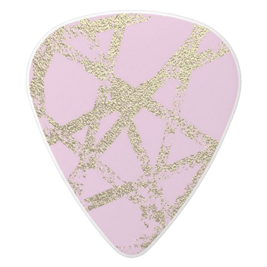Modern,abstract,hand painted, gold lines, pink,dec white delrin guitar pick
