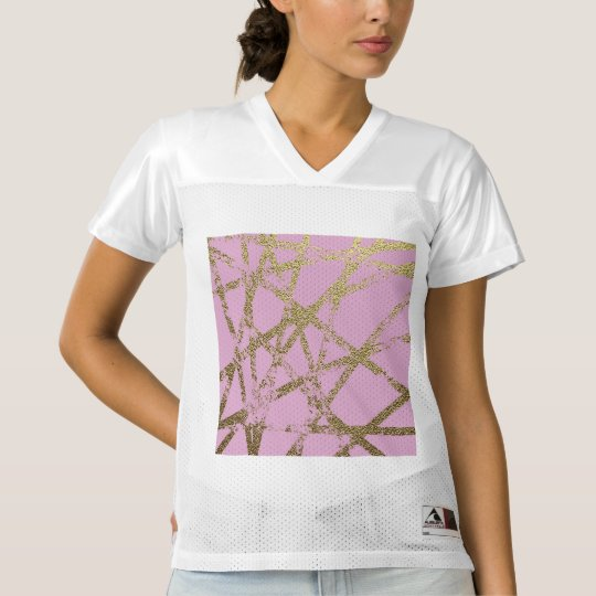 Modern,abstract,hand painted, gold lines, pink,dec women's football jersey