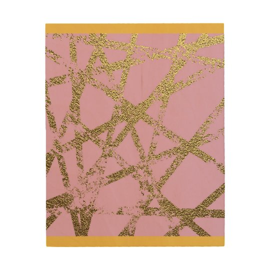 Modern,abstract,hand painted, gold lines, pink,dec wood print