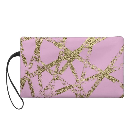 Modern,abstract,hand painted, gold lines, pink,dec wristlet