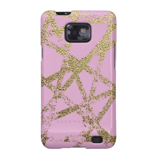 Modern,abstract,hand painted, gold lines pink galaxy s2 cover