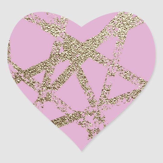 Modern,abstract,hand painted, gold lines pink heart sticker