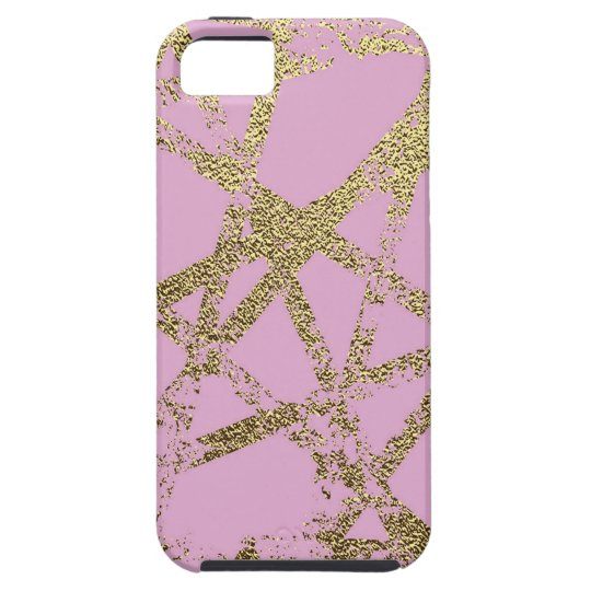 Modern,abstract,hand painted, gold lines pink iPhone 5 case
