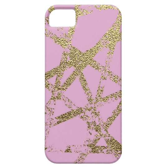Modern,abstract,hand painted, gold lines pink iPhone 5 covers