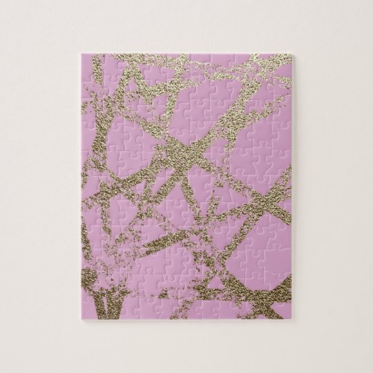 Modern,abstract,hand painted, gold lines pink jigsaw puzzle