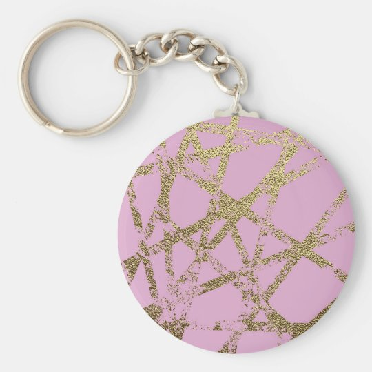 Modern,abstract,hand painted, gold lines pink keychain