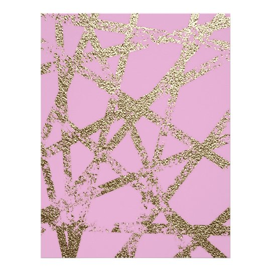 Modern,abstract,hand painted, gold lines pink letterhead