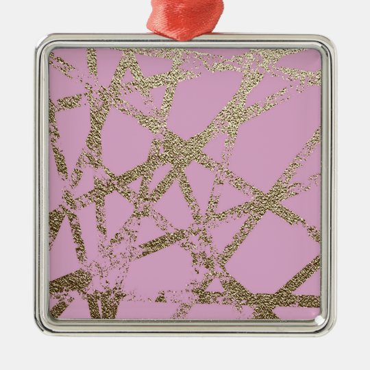 Modern,abstract,hand painted, gold lines pink metal ornament