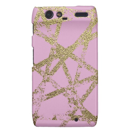 Modern,abstract,hand painted, gold lines pink motorola droid RAZR case