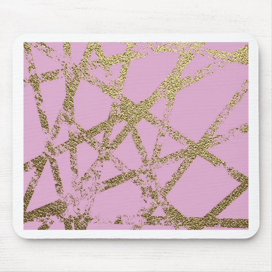 Modern,abstract,hand painted, gold lines pink mouse pad
