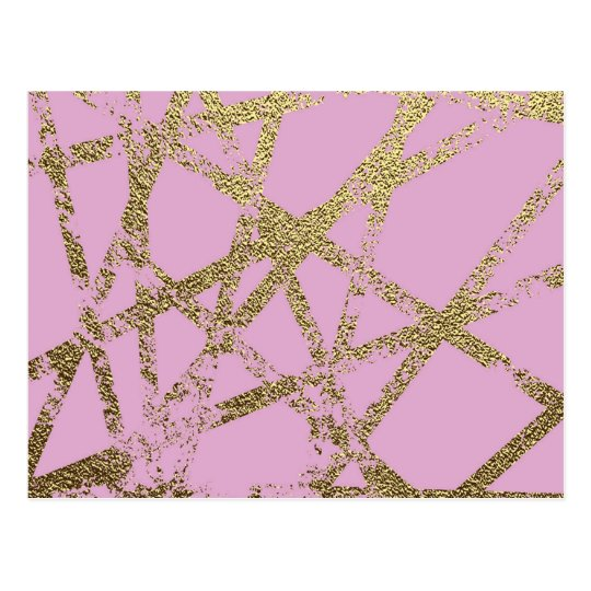 Modern,abstract,hand painted, gold lines pink postcard