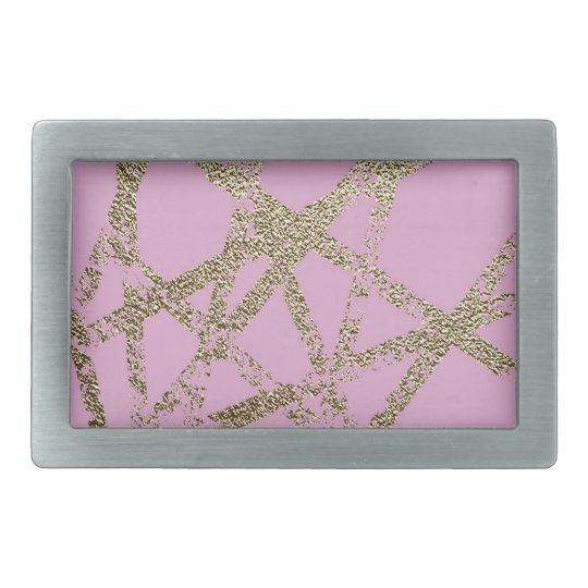 Modern,abstract,hand painted, gold lines pink rectangular belt buckles
