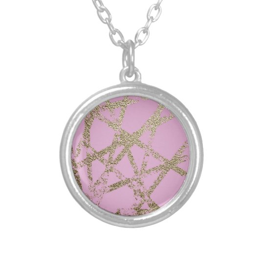 Modern,abstract,hand painted, gold lines pink silver plated necklace