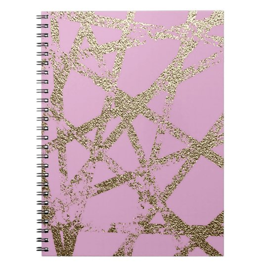 Modern,abstract,hand painted, gold lines pink spiral notebook