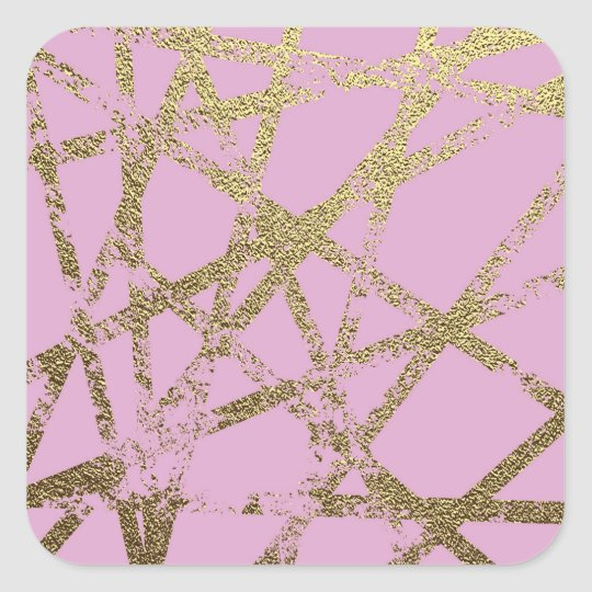 Modern,abstract,hand painted, gold lines pink square sticker
