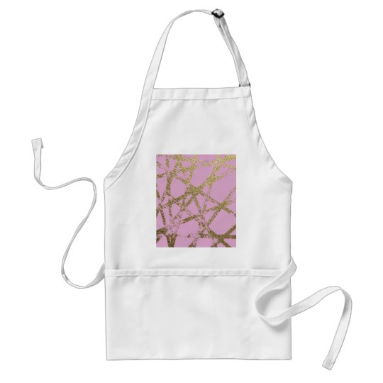 Modern,abstract,hand painted, gold lines pink standard apron