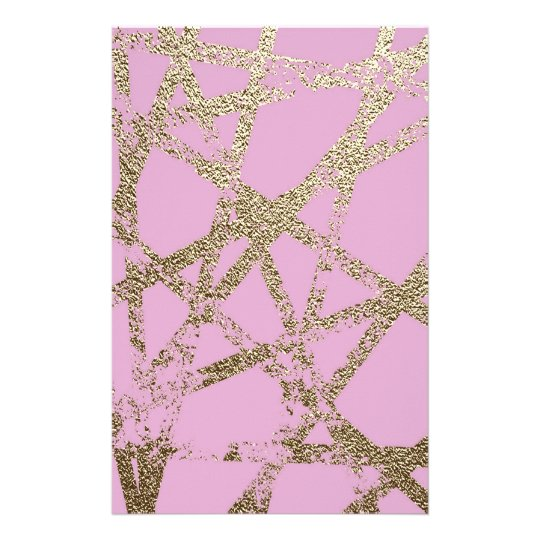 Modern,abstract,hand painted, gold lines pink stationery