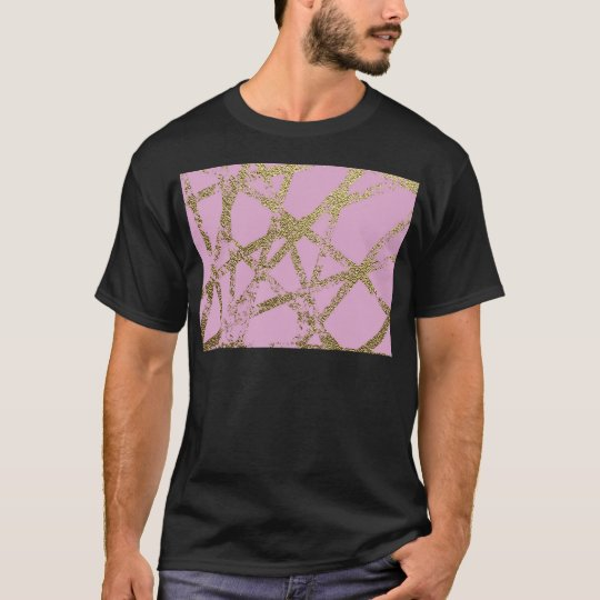 Modern,abstract,hand painted, gold lines pink T-Shirt