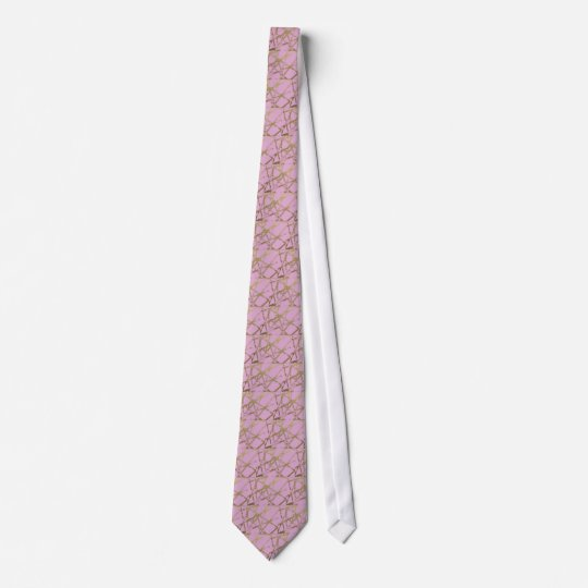 Modern,abstract,hand painted, gold lines pink tie