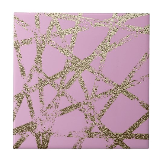 Modern,abstract,hand painted, gold lines pink tile