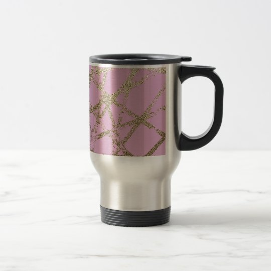 Modern,abstract,hand painted, gold lines pink travel mug