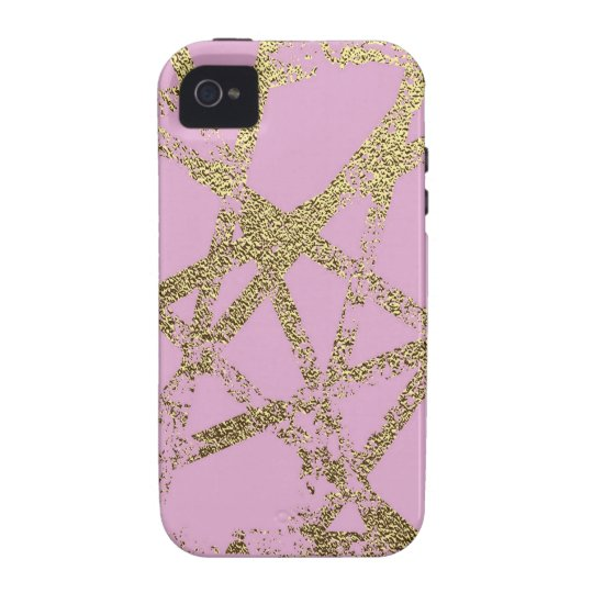 Modern,abstract,hand painted, gold lines pink vibe iPhone 4 cases