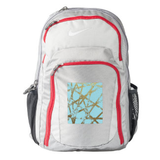 Modern,abstract,hand painted, gold lines turquoise backpack