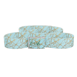 Modern,abstract,hand painted, gold lines turquoise belt