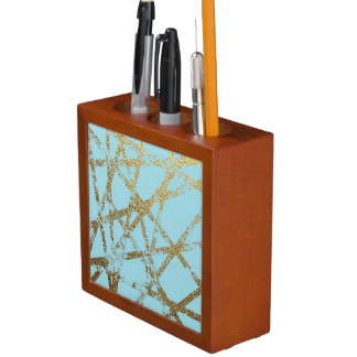 Modern,abstract,hand painted, gold lines turquoise desk organizer