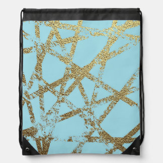 Modern,abstract,hand painted, gold lines turquoise drawstring bag