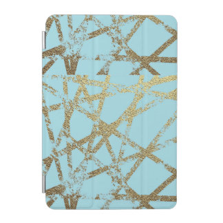Modern,abstract,hand painted, gold lines turquoise iPad mini cover
