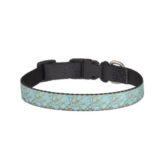 Modern,abstract,hand painted, gold lines turquoise pet collar