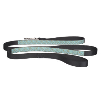 Modern,abstract,hand painted, gold lines turquoise pet lead