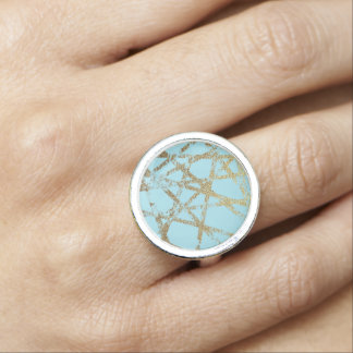 Modern,abstract,hand painted, gold lines turquoise rings