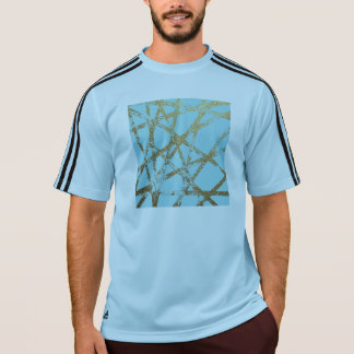 Modern,abstract,hand painted, gold lines turquoise T-Shirt
