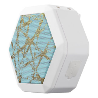Modern,abstract,hand painted, gold lines turquoise white bluetooth speaker