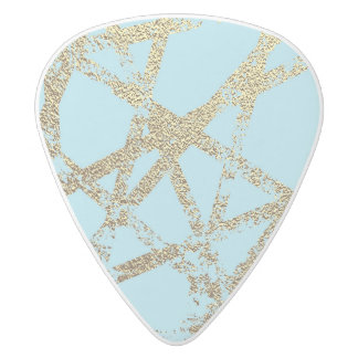 Modern,abstract,hand painted, gold lines turquoise white delrin guitar pick