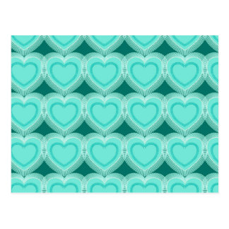 Modern Abstract Hearts - Aqua and Turquoise Postcard