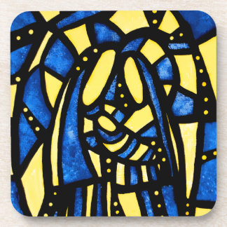Modern Abstract Holy Family Blue Christmas Coaster