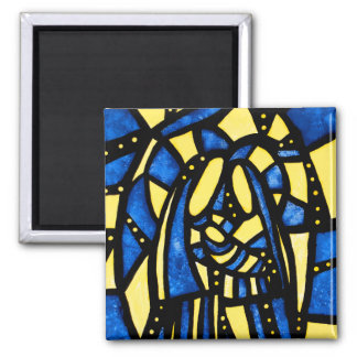 Modern Abstract Holy Family Blue Christmas Magnet