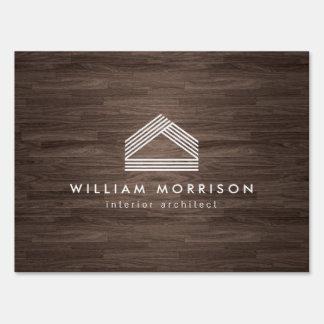 Modern Abstract Home Logo on Dark Woodgrain Sign