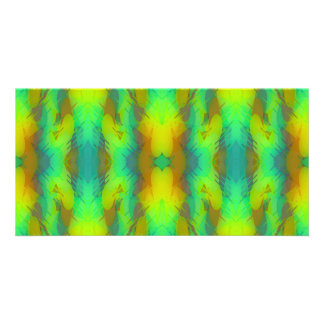 Modern Abstract in Vibrant Green and Yellow Personalized Photo Card