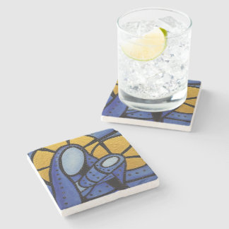 Modern Abstract Mother & Child Blue Christmas Stone Coaster