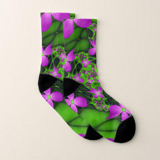 Modern Abstract Neon Pink Green Fractal Flowers 1