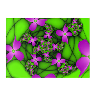 Modern Abstract Neon Pink Green Fractal Flowers Acrylic Print